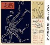 vintage seafood menu design.... | Shutterstock .eps vector #381321427