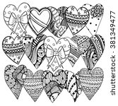set of hand drawn hearts.... | Shutterstock .eps vector #381349477