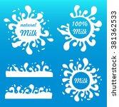 set milk splash and blot. milk... | Shutterstock .eps vector #381362533