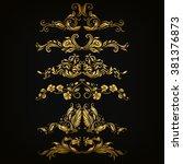 set of filigree damask... | Shutterstock .eps vector #381376873