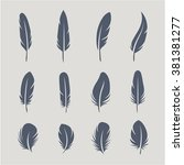 black feathers icon set...