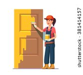 professional painter painting... | Shutterstock .eps vector #381414157
