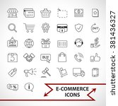 e commerce  shopping icons set | Shutterstock .eps vector #381436327
