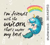 vector card with unicorn ... | Shutterstock .eps vector #381443953