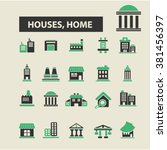 houses icons | Shutterstock .eps vector #381456397
