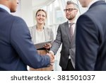 greeting colleague | Shutterstock . vector #381501037