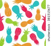 multicolor pineapples pattern.... | Shutterstock .eps vector #381515677