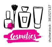 set brush hand drawn cosmetics. ... | Shutterstock .eps vector #381527137