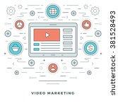 flat line e learning or video... | Shutterstock .eps vector #381528493