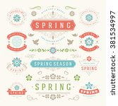 spring typographic design set.... | Shutterstock .eps vector #381534997