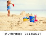 kids toys and little girl... | Shutterstock . vector #381560197