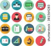education icons set vector... | Shutterstock .eps vector #381564283