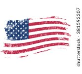 usa flag in grunge style on a... | Shutterstock .eps vector #381592207