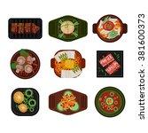 food illustration korean food... | Shutterstock .eps vector #381600373