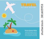 travel by airplane poster....   Shutterstock .eps vector #381605953