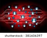 social media network concept.... | Shutterstock .eps vector #381606397