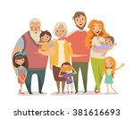 big  happy  smiling family... | Shutterstock .eps vector #381616693