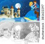 cartoon romantic scene with... | Shutterstock . vector #381622297