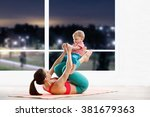 athletic woman working out with ... | Shutterstock . vector #381679363