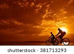 sporty couple friends on... | Shutterstock . vector #381713293