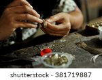 balinese women working on a... | Shutterstock . vector #381719887