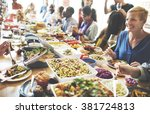 meal food party celebrate cafe... | Shutterstock . vector #381724813