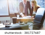 business partners discussing...   Shutterstock . vector #381727687