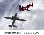 two parachutists jumped from a... | Shutterstock . vector #381736693