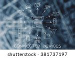 connected devices  laptop and... | Shutterstock . vector #381737197