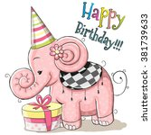 greeting card cute elephant... | Shutterstock . vector #381739633