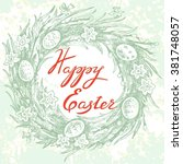 easter greeting card with... | Shutterstock .eps vector #381748057
