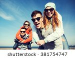 friendship  leisure and people... | Shutterstock . vector #381754747