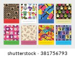 set of eight seamless pattern... | Shutterstock .eps vector #381756793