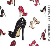 vector fashion sketch. hand... | Shutterstock .eps vector #381766657