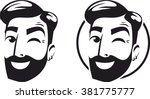 logo sign head of a bearded... | Shutterstock .eps vector #381775777
