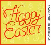 happy easter greeting card.... | Shutterstock .eps vector #381790933