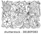 butterfly and flowers    Shutterstock .eps vector #381809383