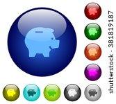 set of color piggy bank glass...