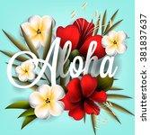 aloha hawaii. hand lettering... | Shutterstock .eps vector #381837637