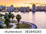 sarasota skyline at dawn with... | Shutterstock . vector #381840283