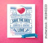 retro stylish save the date... | Shutterstock .eps vector #381843223