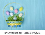 an arrangement of easter items... | Shutterstock . vector #381849223