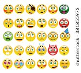 big yellow round  emoticons... | Shutterstock .eps vector #381855973