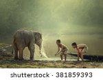 Two Boys Are Playing Splashing - Fine Art prints