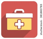 first aid toolbox long shadow... | Shutterstock . vector #381883783