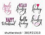 hello friday lettering sign...   Shutterstock .eps vector #381921313