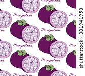 purple mangosteen. seamless... | Shutterstock .eps vector #381941953