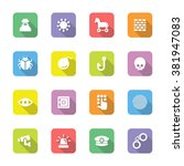 colorful flat security icon set ...