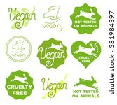 vector cruelty free icons set.... | Shutterstock .eps vector #381984397