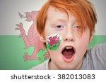Redhead Fan Boy With Welsh Fla...